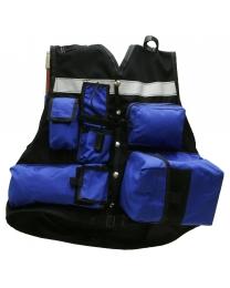 50-01-0016 Wildland Engineer Dozer Vest Blue Pockets Front