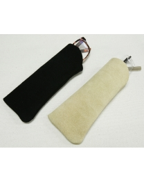 Genuine Suede Reading Glasses Case Black & Beige - Ruffian Specialties 30-25-0005
